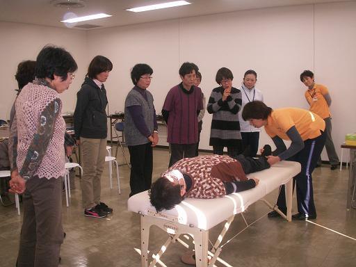 下肢のリラクゼーション体験中